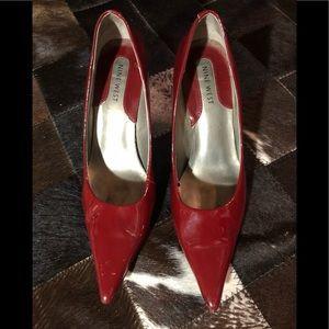 👠 Nine West heeled pumps, red, leather upper 👠